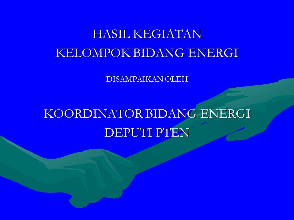 HASIL KEGIATAN KELOMPOK BIDANG ENERGI DISAMPAIKAN OLEH KOORDINATOR BIDANG ENERGI DEPUTI PTEN