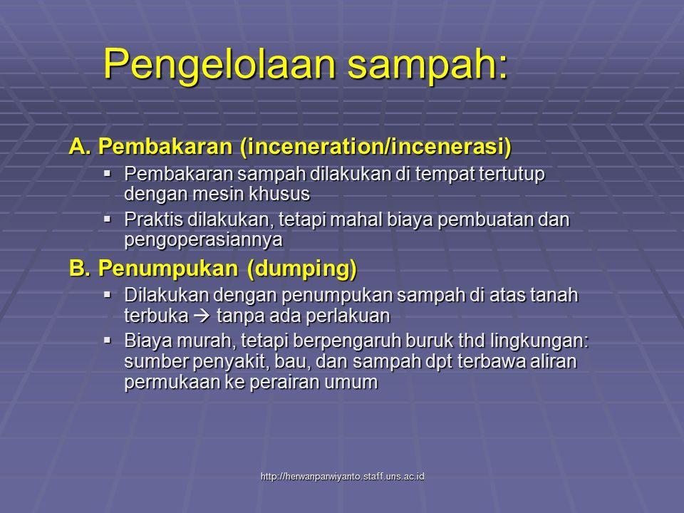 http://herwanparwiyanto.staff.uns.ac.id Pengelolaan sampah: A. Pembakaran (inceneration/incenerasi)  Pembakaran sampah dilakukan di tempat tertutup d
