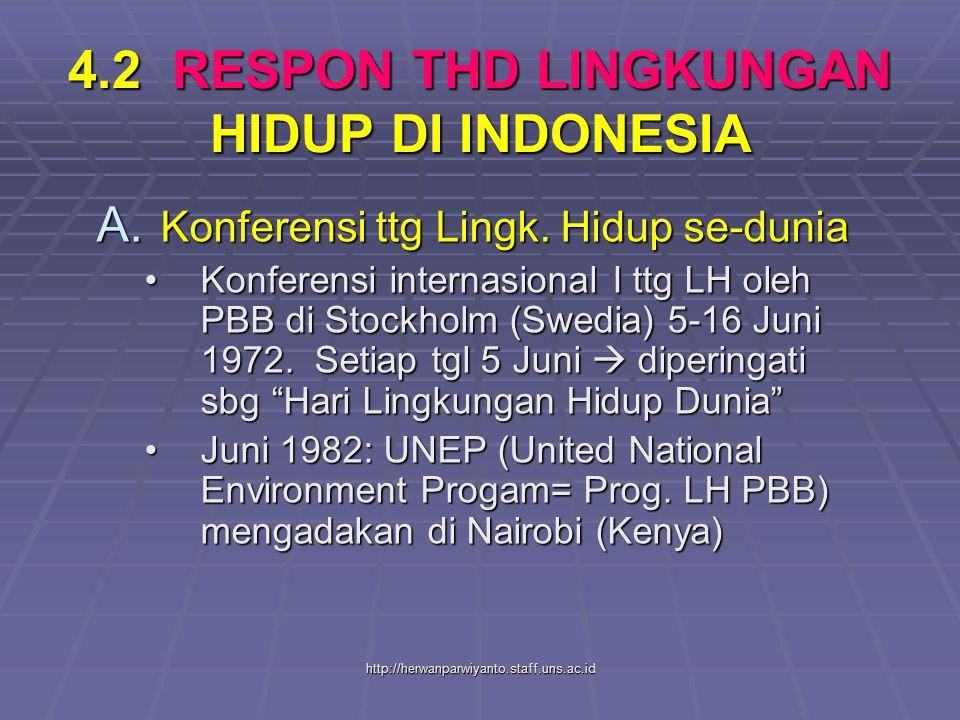 http://herwanparwiyanto.staff.uns.ac.id 4.2 RESPON THD LINGKUNGAN HIDUP DI INDONESIA A. Konferensi ttg Lingk. Hidup se-dunia Konferensi internasional