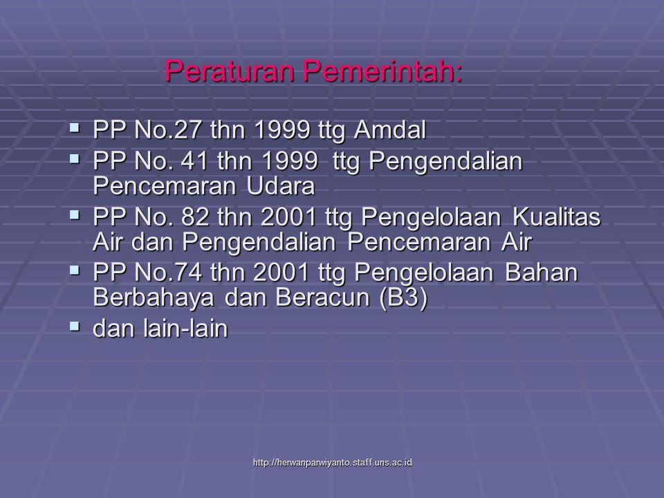 http://herwanparwiyanto.staff.uns.ac.id Peraturan Pemerintah:  PP No.27 thn 1999 ttg Amdal  PP No. 41 thn 1999 ttg Pengendalian Pencemaran Udara  P