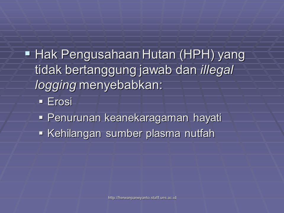 http://herwanparwiyanto.staff.uns.ac.id  Hak Pengusahaan Hutan (HPH) yang tidak bertanggung jawab dan illegal logging menyebabkan:  Erosi  Penurunan keanekaragaman hayati  Kehilangan sumber plasma nutfah