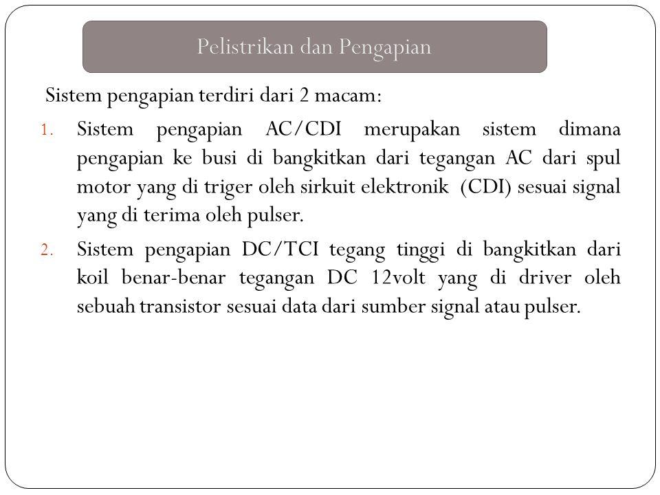 Sistem pengapian terdiri dari 2 macam: 1. Sistem pengapian AC/CDI merupakan sistem dimana pengapian ke busi di bangkitkan dari tegangan AC dari spul m
