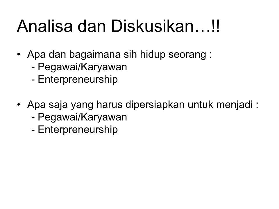 Analisa dan Diskusikan…!! Apa dan bagaimana sih hidup seorang : - Pegawai/Karyawan - Enterpreneurship Apa saja yang harus dipersiapkan untuk menjadi :