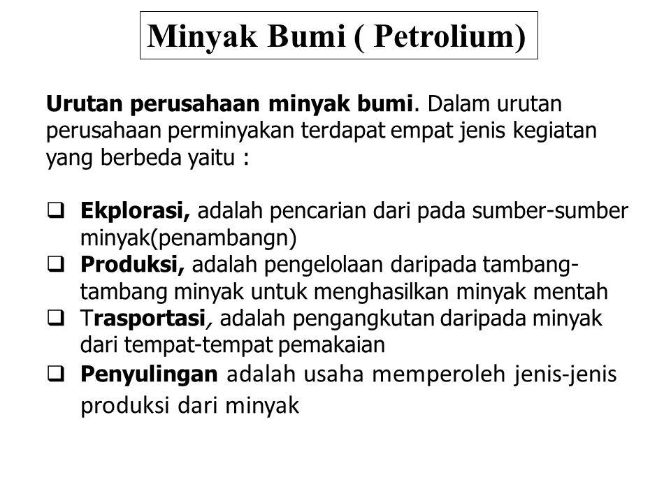 Urutan perusahaan minyak bumi. Dalam urutan perusahaan perminyakan terdapat empat jenis kegiatan yang berbeda yaitu :  Ekplorasi, adalah pencarian da