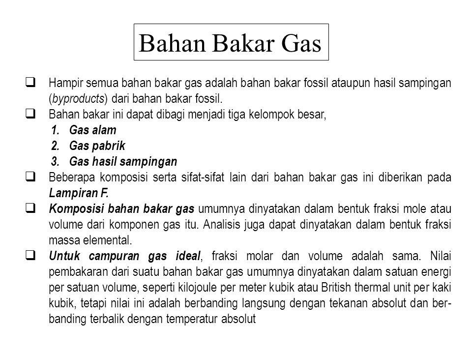 Bahan Bakar Gas  Hampir semua bahan bakar gas adalah bahan bakar fossil ataupun hasil sampingan ( byproducts ) dari bahan bakar fossil.  Bahan baka