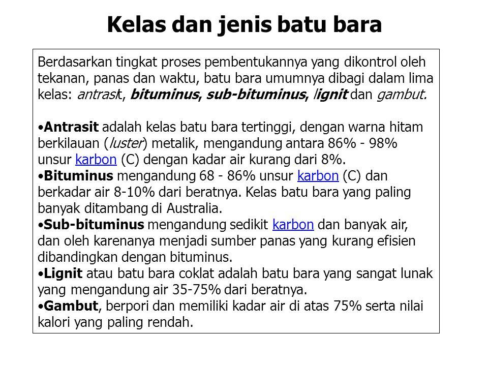Berdasarkan tingkat proses pembentukannya yang dikontrol oleh tekanan, panas dan waktu, batu bara umumnya dibagi dalam lima kelas: antrasit, bituminus