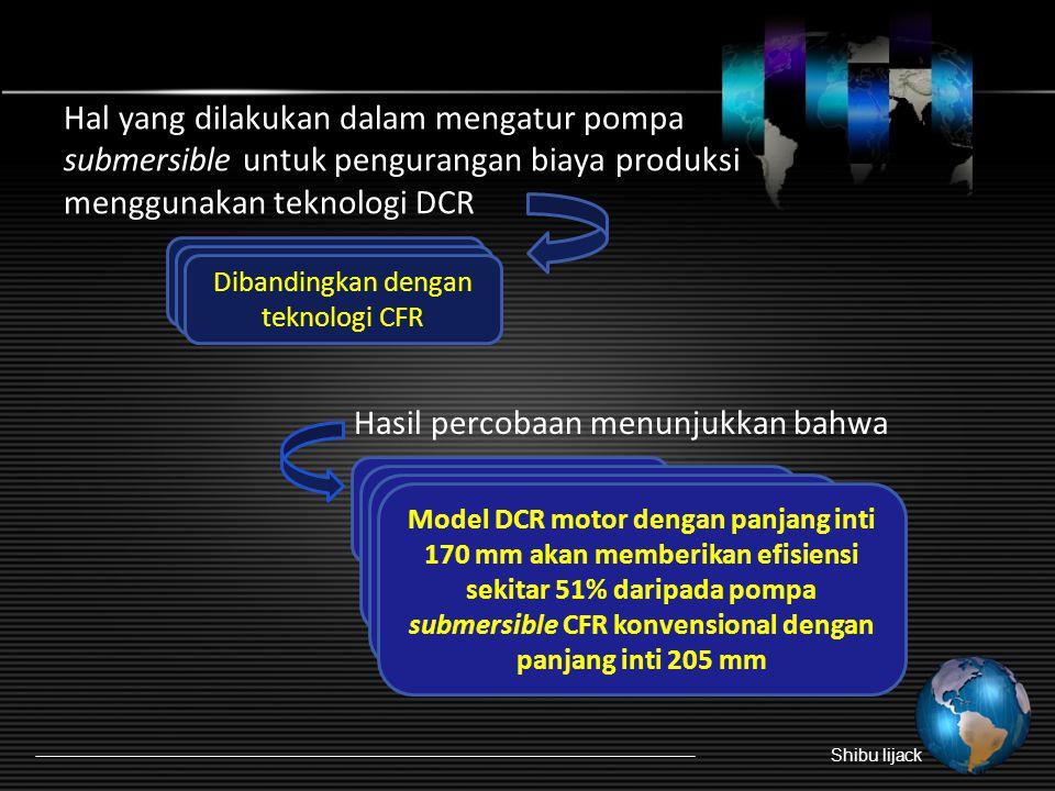 Hal yang dilakukan dalam mengatur pompa submersible untuk pengurangan biaya produksi menggunakan teknologi DCR Hasil percobaan menunjukkan bahwa Shibu lijack Mengurangi inti panjang DCR Parameter kinerja diukur Dibandingkan dengan teknologi CFR Bahan stamping M47 lebih efektif Teknologi DCR memerlukan biaya hanya 90% dari biaya pompa CFR 25% dari energi dapat diselamatkan dalam pengoperasian pompa dengan teknologi DCR Model DCR motor dengan panjang inti 170 mm akan memberikan efisiensi sekitar 51% daripada pompa submersible CFR konvensional dengan panjang inti 205 mm