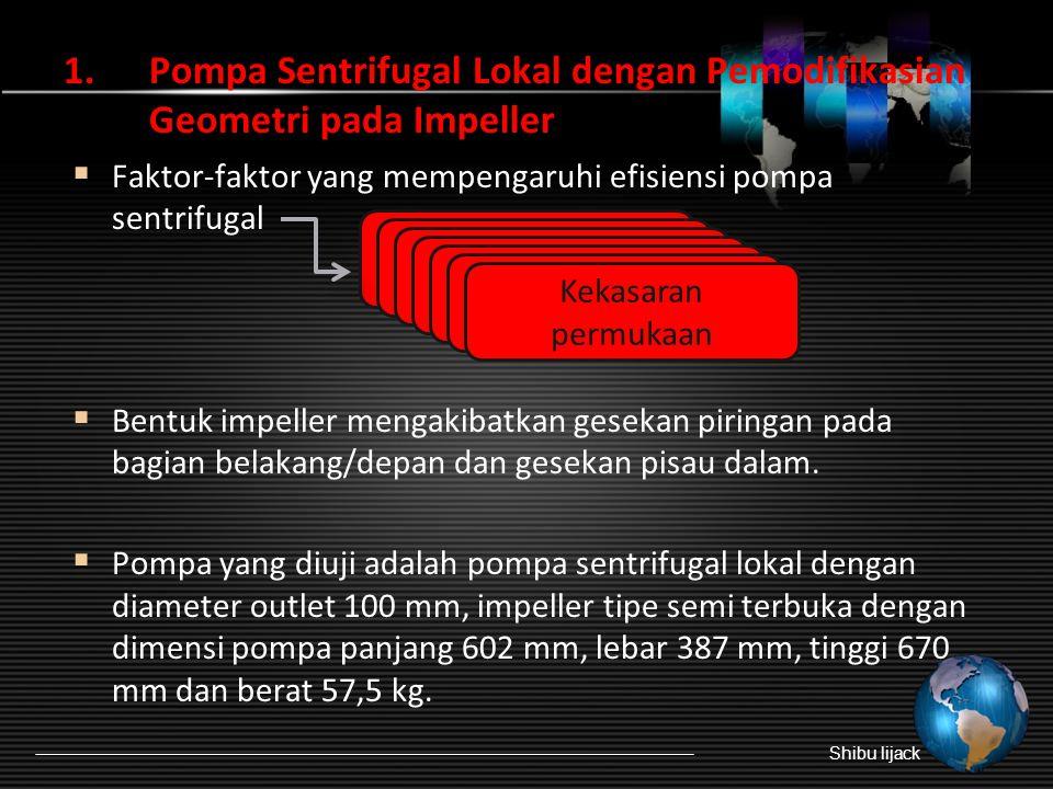 1.Pompa Sentrifugal Lokal dengan Pemodifikasian Geometri pada Impeller  Faktor-faktor yang mempengaruhi efisiensi pompa sentrifugal  Bentuk impeller mengakibatkan gesekan piringan pada bagian belakang/depan dan gesekan pisau dalam.