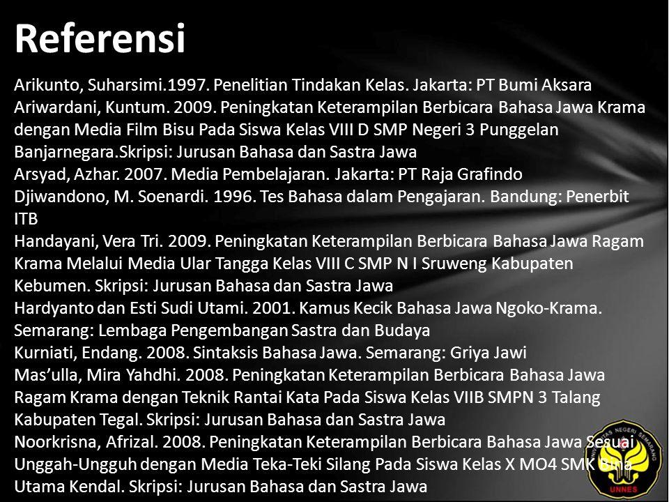 Referensi Arikunto, Suharsimi.1997. Penelitian Tindakan Kelas. Jakarta: PT Bumi Aksara Ariwardani, Kuntum. 2009. Peningkatan Keterampilan Berbicara Ba