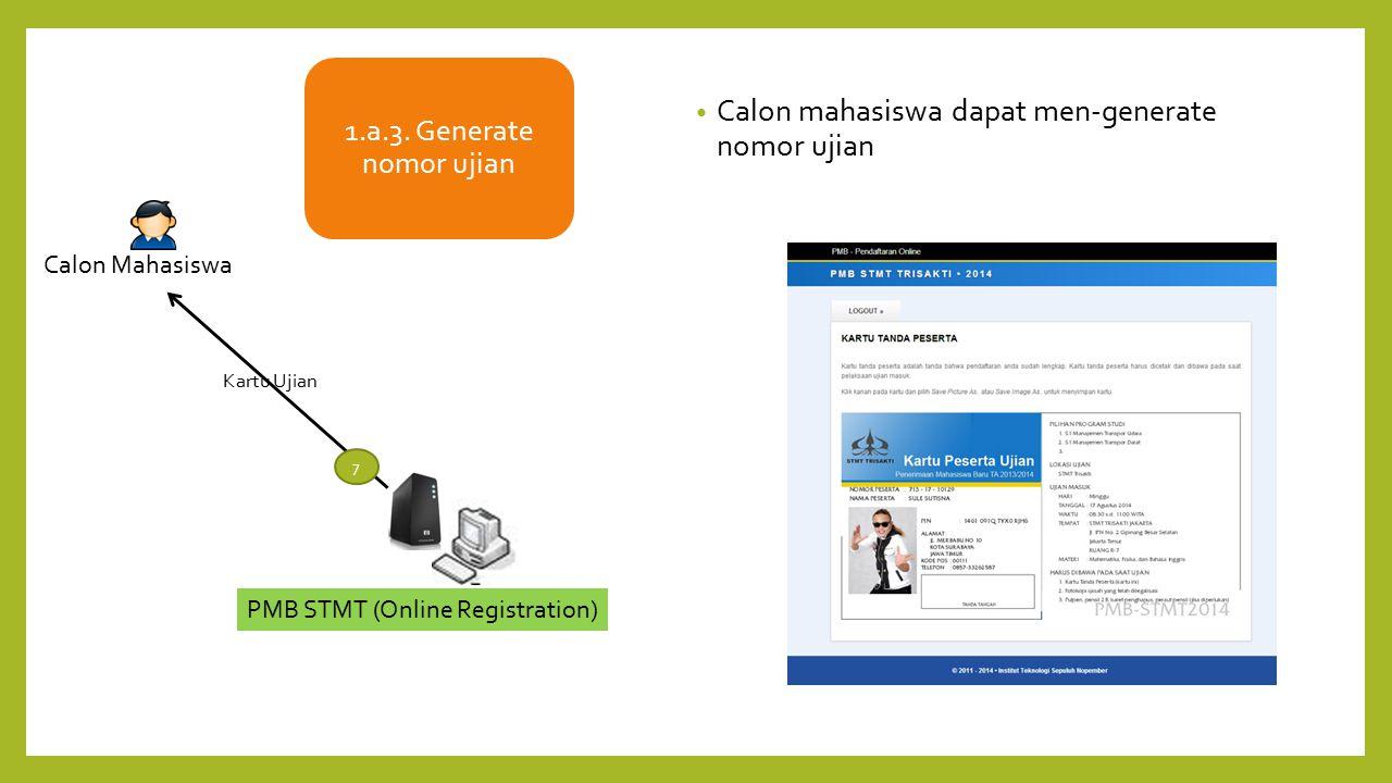 PMB STMT (Online Registration) Kartu Ujian 7 Calon Mahasiswa 1.a.3. Generate nomor ujian Calon mahasiswa dapat men-generate nomor ujian