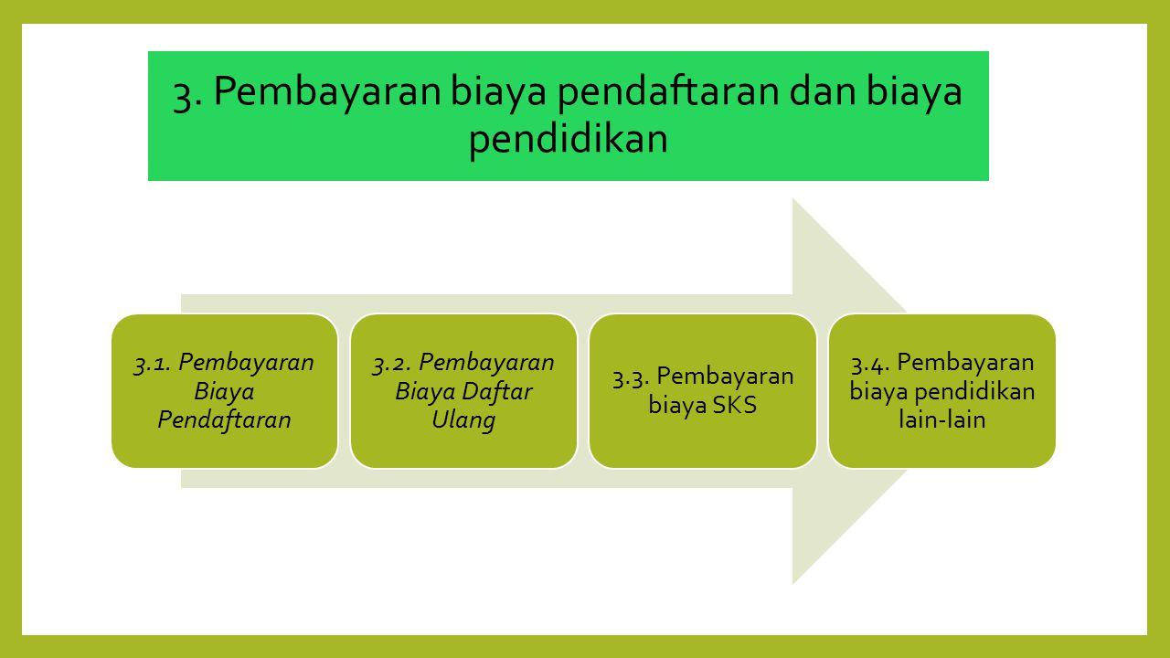 3.1. Pembayaran Biaya Pendaftaran 3.2. Pembayaran Biaya Daftar Ulang 3.3. Pembayaran biaya SKS 3.4. Pembayaran biaya pendidikan lain-lain 3. Pembayara