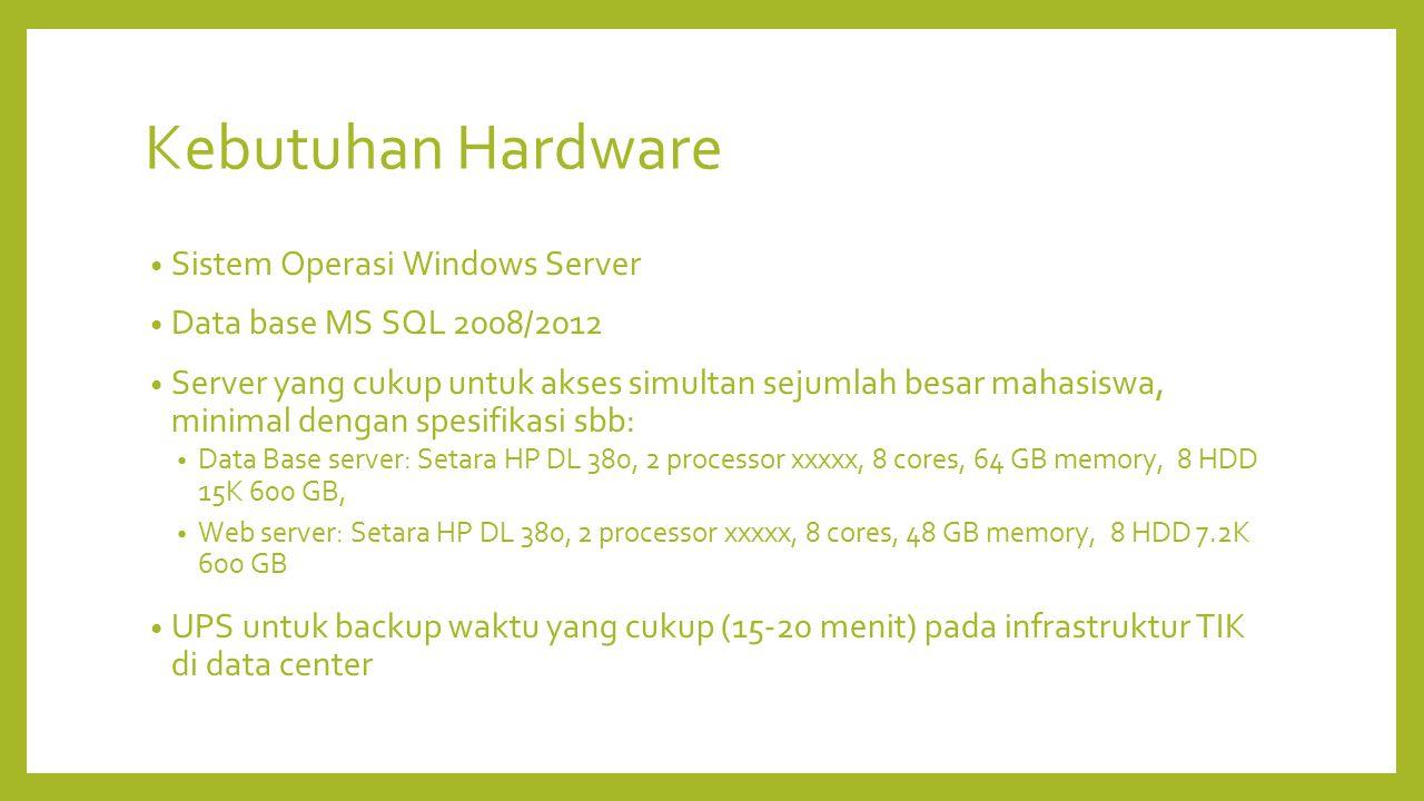 Kebutuhan Hardware Sistem Operasi Windows Server Data base MS SQL 2008/2012 Server yang cukup untuk akses simultan sejumlah besar mahasiswa, minimal d