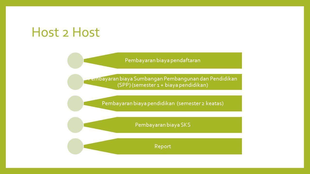 Host 2 Host Pembayaran biaya pendaftaran Pembayaran biaya Sumbangan Pembangunan dan Pendidikan (SPP) (semester 1 + biaya pendidikan) Pembayaran biaya