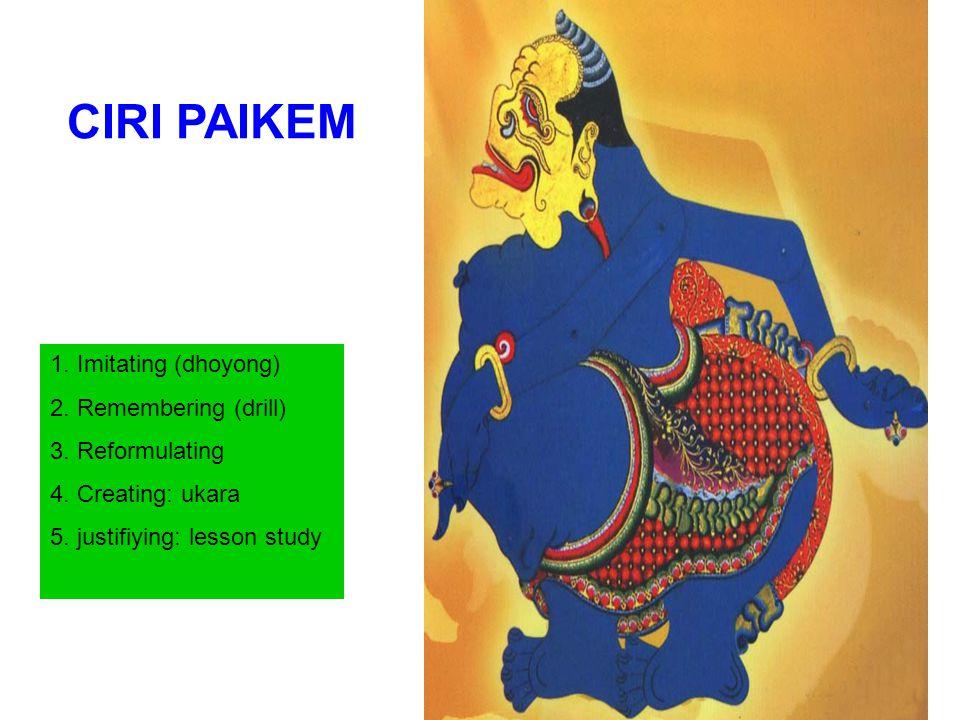 CIRI PAIKEM 1.Imitating (dhoyong) 2. Remembering (drill) 3.