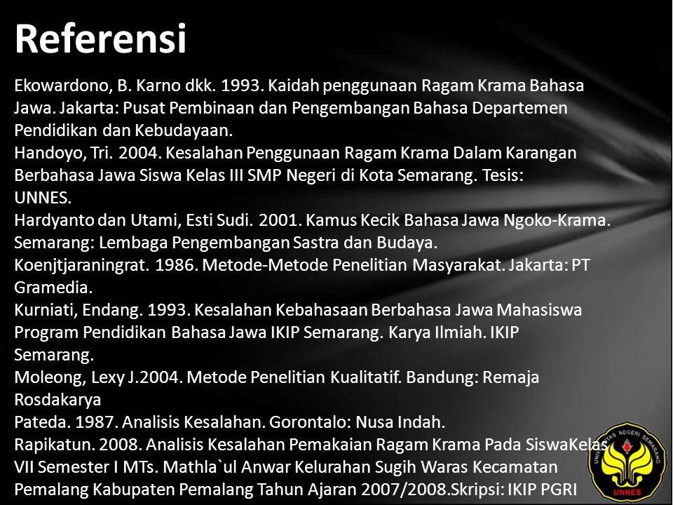 Referensi Ekowardono, B. Karno dkk. 1993. Kaidah penggunaan Ragam Krama Bahasa Jawa. Jakarta: Pusat Pembinaan dan Pengembangan Bahasa Departemen Pendi