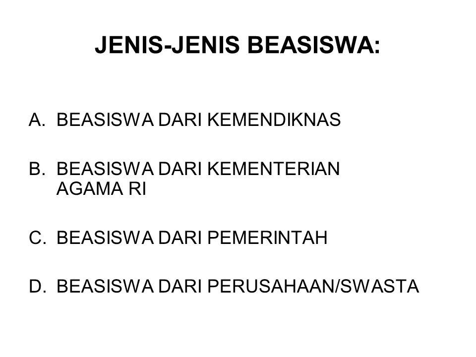JENIS-JENIS BEASISWA: A.BEASISWA DARI KEMENDIKNAS B.BEASISWA DARI KEMENTERIAN AGAMA RI C.BEASISWA DARI PEMERINTAH D.BEASISWA DARI PERUSAHAAN/SWASTA