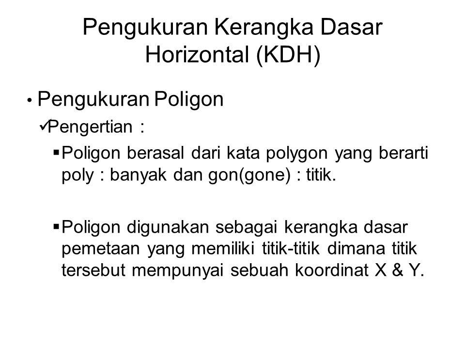 Pengukuran Kerangka Dasar Horizontal (KDH) Pengukuran Poligon Pengertian :  Poligon berasal dari kata polygon yang berarti poly : banyak dan gon(gone