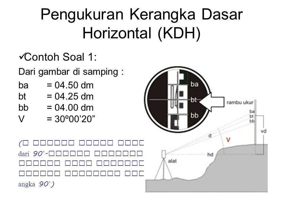 "Pengukuran Kerangka Dasar Horizontal (KDH) Contoh Soal 1: Dari gambar di samping : ba= 04.50 dm bt= 04.25 dm bb= 04.00 dm V= 30º00'20"" ( V adalah hasi"