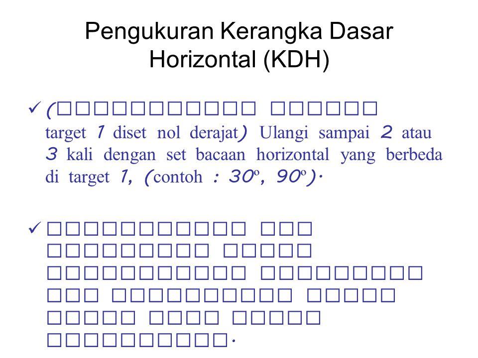 Pengukuran Kerangka Dasar Horizontal (KDH) ( dikarenakan bacaan target 1 diset nol derajat ) Ulangi sampai 2 atau 3 kali dengan set bacaan horizontal