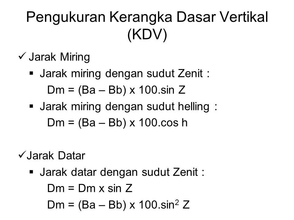 Pengukuran Kerangka Dasar Vertikal (KDV) Jarak Miring  Jarak miring dengan sudut Zenit : Dm = (Ba – Bb) x 100.sin Z  Jarak miring dengan sudut helli