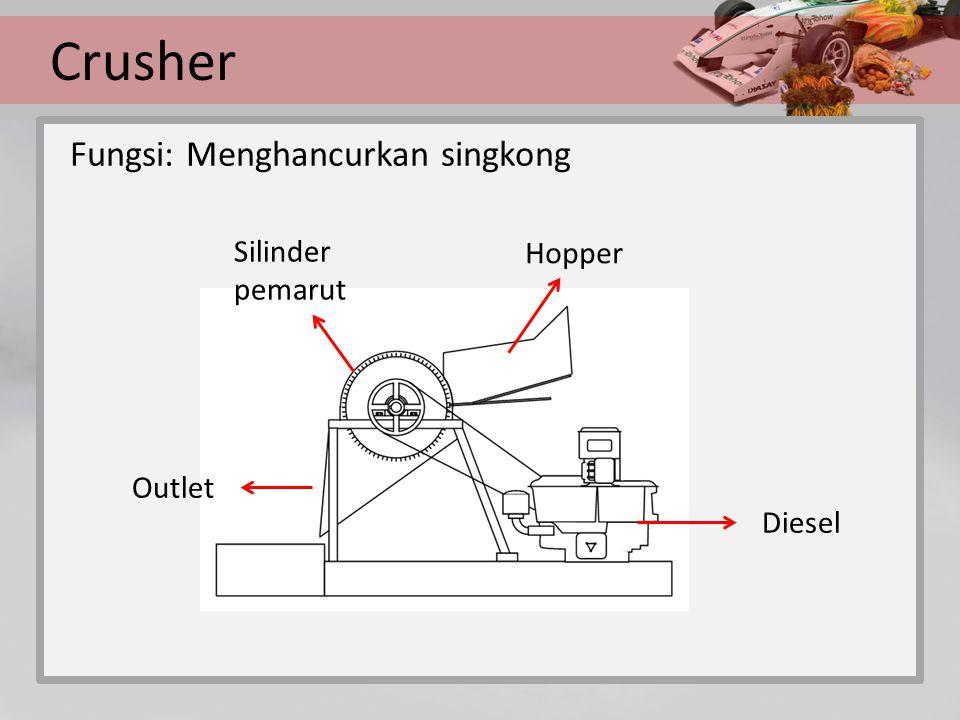 Crusher Fungsi: Menghancurkan singkong Hopper Silinder pemarut Outlet Diesel