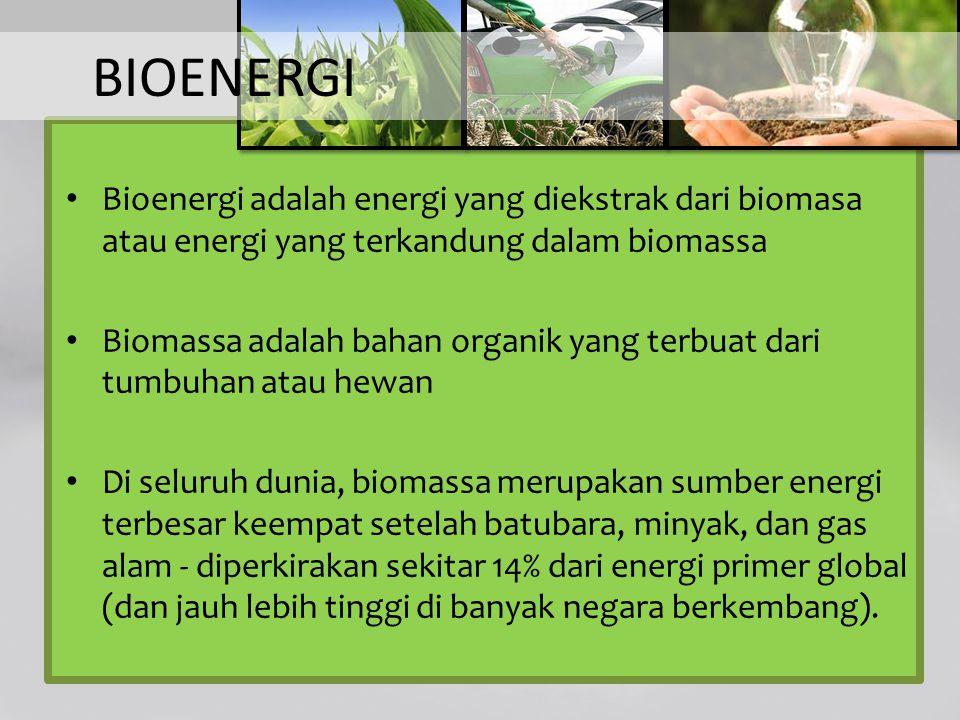 BIOENERGI Bioenergi adalah energi yang diekstrak dari biomasa atau energi yang terkandung dalam biomassa Biomassa adalah bahan organik yang terbuat da