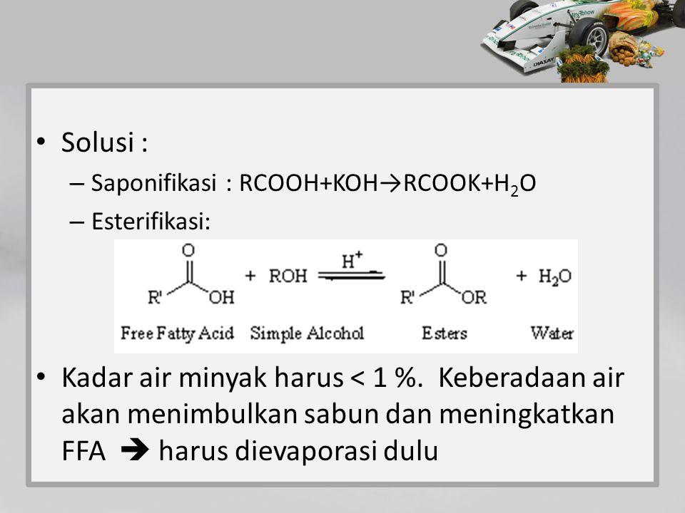 Solusi : – Saponifikasi : RCOOH+KOH→RCOOK+H 2 O – Esterifikasi: Kadar air minyak harus < 1 %. Keberadaan air akan menimbulkan sabun dan meningkatkan F