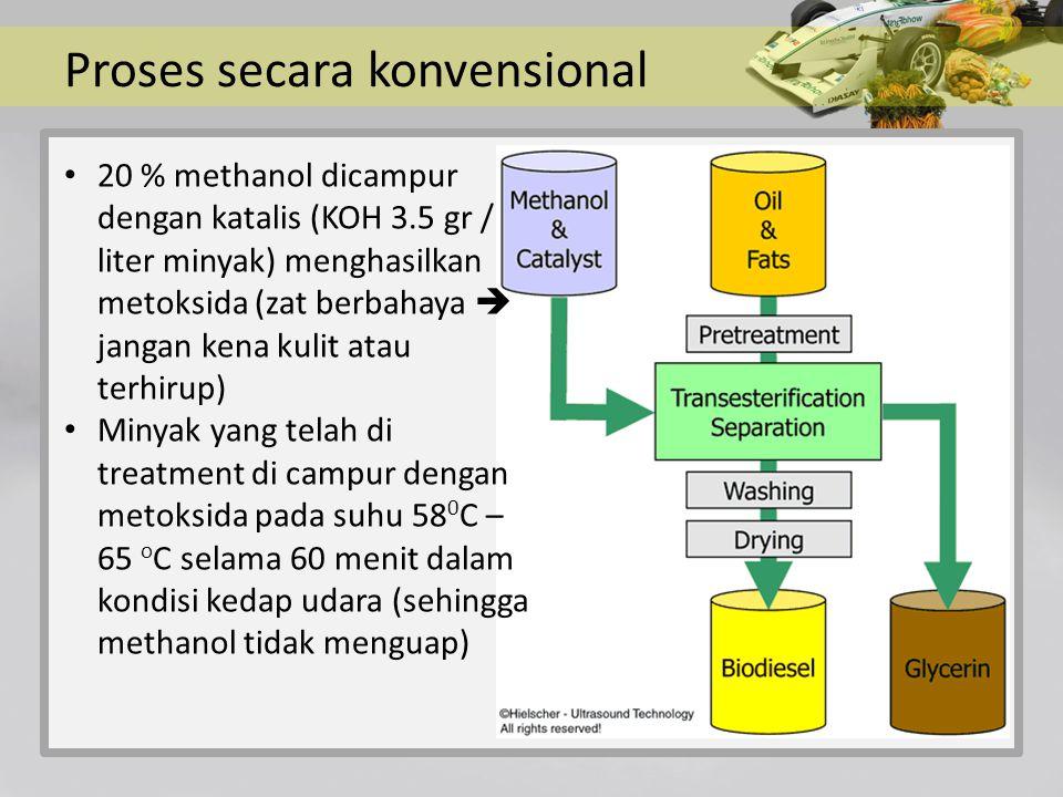 Proses secara konvensional 20 % methanol dicampur dengan katalis (KOH 3.5 gr / liter minyak) menghasilkan metoksida (zat berbahaya  jangan kena kulit