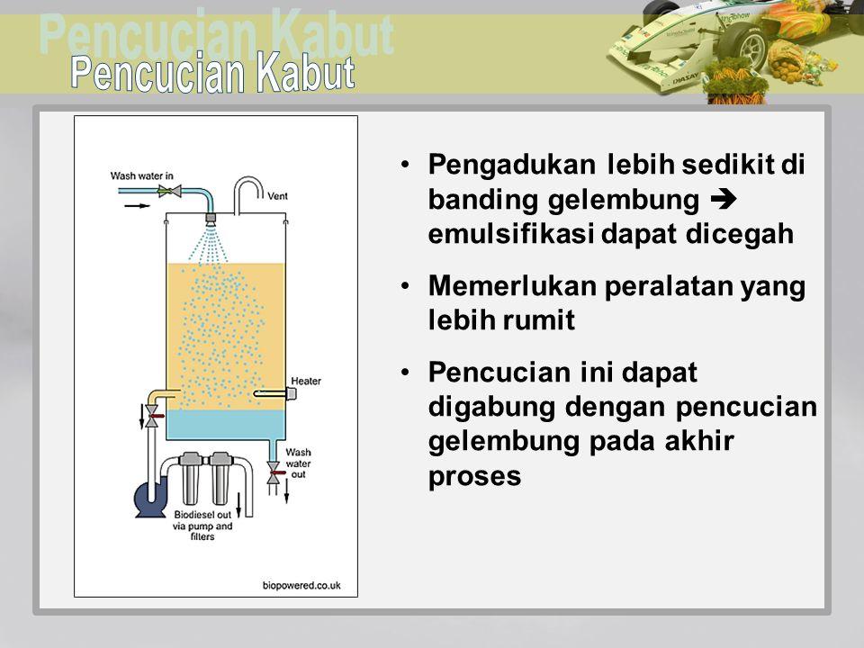Pengadukan lebih sedikit di banding gelembung  emulsifikasi dapat dicegah Memerlukan peralatan yang lebih rumit Pencucian ini dapat digabung dengan p