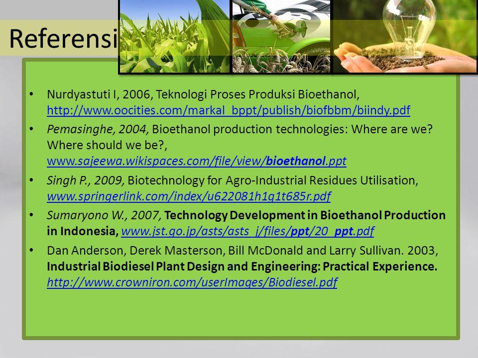 Referensi Nurdyastuti I, 2006, Teknologi Proses Produksi Bioethanol, http://www.oocities.com/markal_bppt/publish/biofbbm/biindy.pdf http://www.oocitie