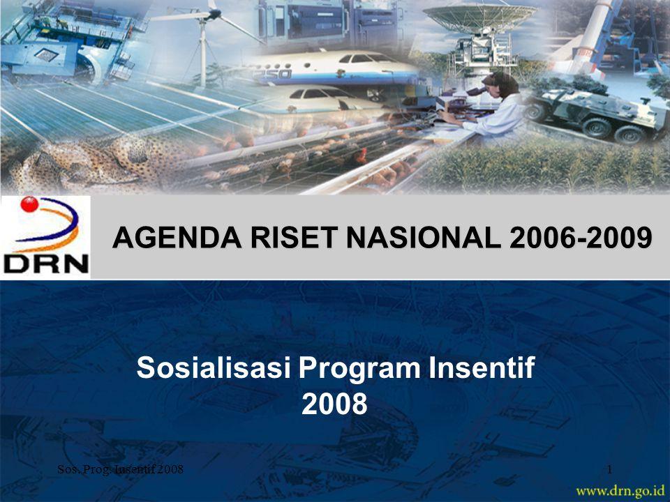 Sos. Prog. Insentif 20081 AGENDA RISET NASIONAL 2006-2009 Sosialisasi Program Insentif 2008