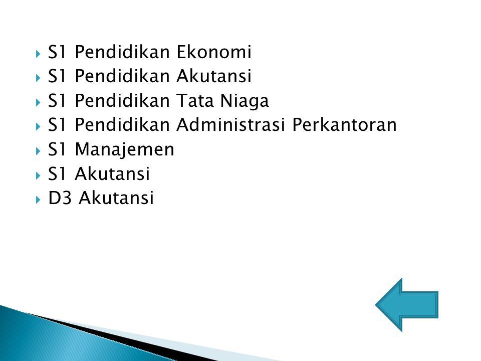 SS1 Pendidikan Ekonomi SS1 Pendidikan Akutansi SS1 Pendidikan Tata Niaga SS1 Pendidikan Administrasi Perkantoran SS1 Manajemen SS1 Akutansi DD3 Akutansi