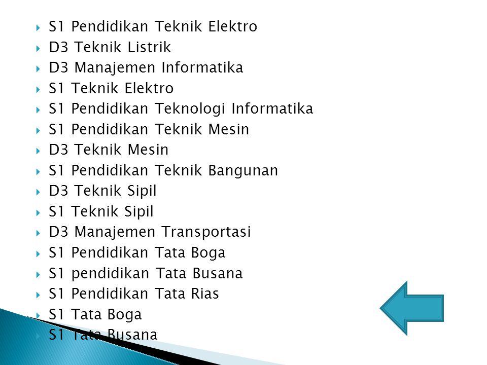  S1 Pendidikan Teknik Elektro  D3 Teknik Listrik  D3 Manajemen Informatika  S1 Teknik Elektro  S1 Pendidikan Teknologi Informatika  S1 Pendidika