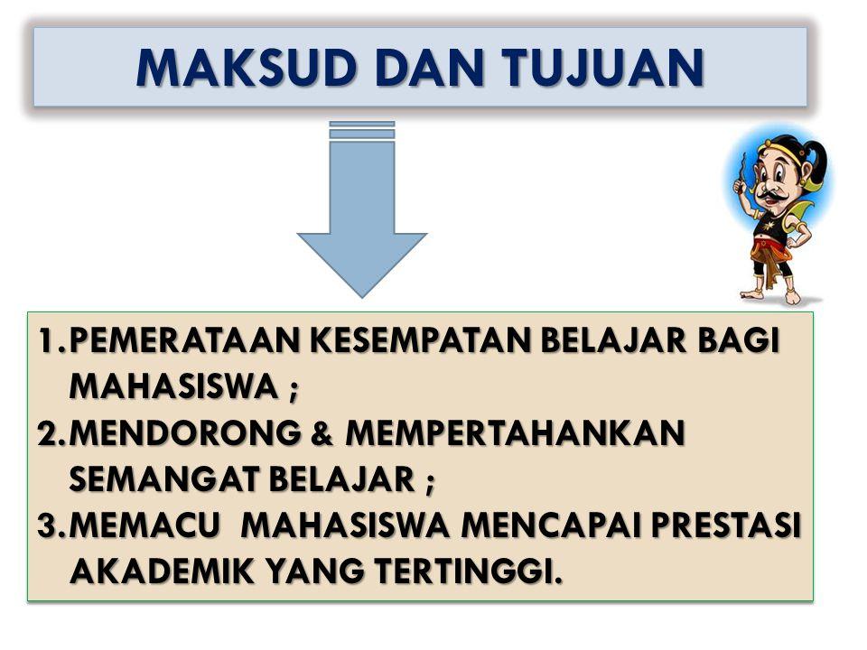 1.PEMERATAAN KESEMPATAN BELAJAR BAGI MAHASISWA ; 2.MENDORONG & MEMPERTAHANKAN SEMANGAT BELAJAR ; 3.MEMACU MAHASISWA MENCAPAI PRESTASI AKADEMIK YANG TE