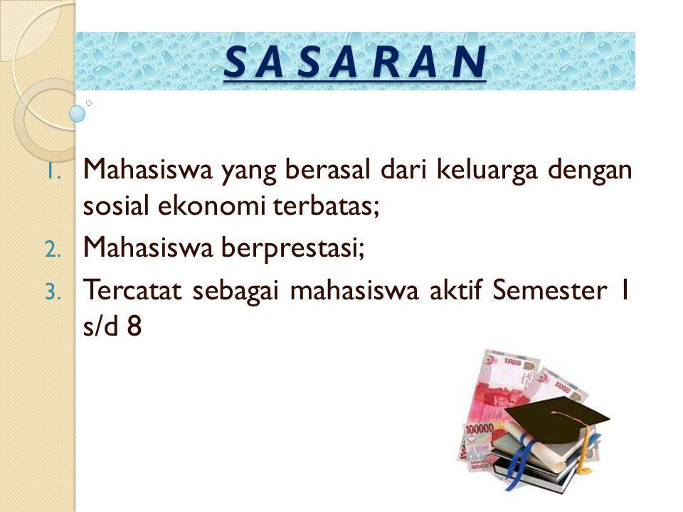 S A S A R A N 1. Mahasiswa yang berasal dari keluarga dengan sosial ekonomi terbatas; 2. Mahasiswa berprestasi; 3. Tercatat sebagai mahasiswa aktif Se