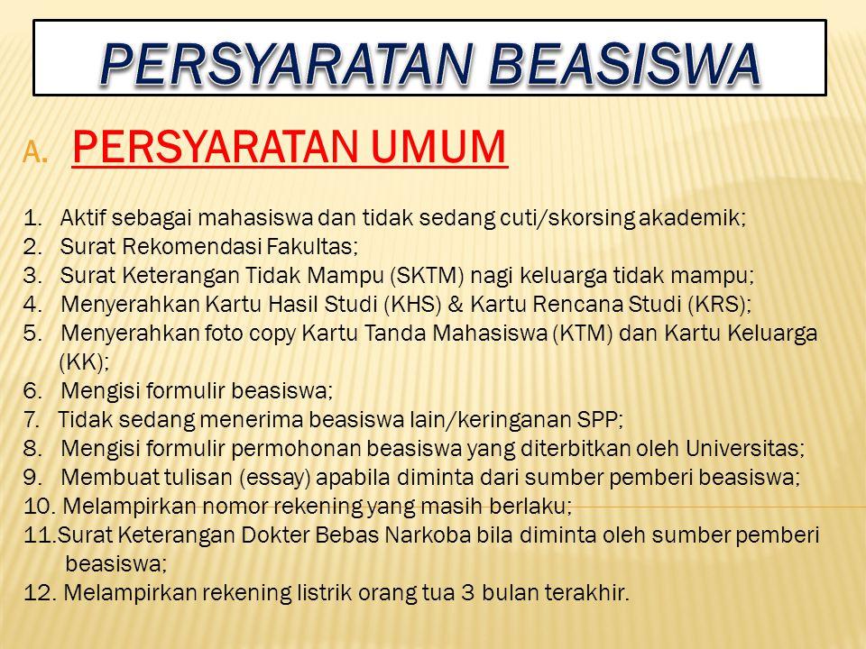 1.Terpenuhi syarat nilai IPK minimal; 2. Minimal semester; 3.