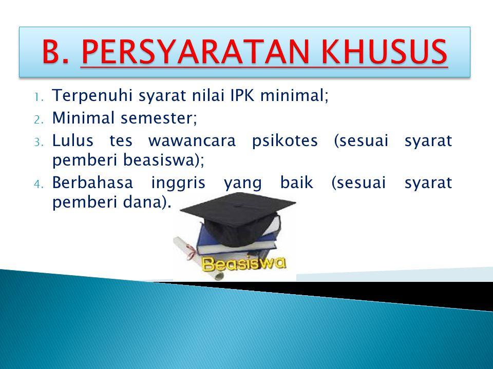 1. Terpenuhi syarat nilai IPK minimal; 2. Minimal semester; 3. Lulus tes wawancara psikotes (sesuai syarat pemberi beasiswa); 4. Berbahasa inggris yan
