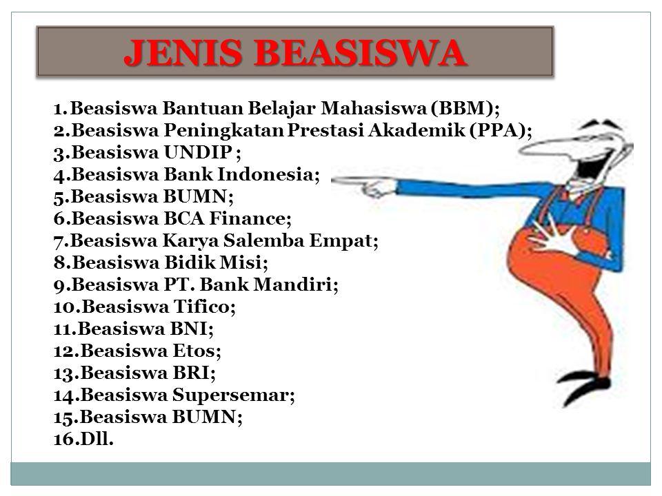 JENIS BEASISWA 1.Beasiswa Bantuan Belajar Mahasiswa (BBM); 2.Beasiswa Peningkatan Prestasi Akademik (PPA); 3.Beasiswa UNDIP ; 4.Beasiswa Bank Indonesi
