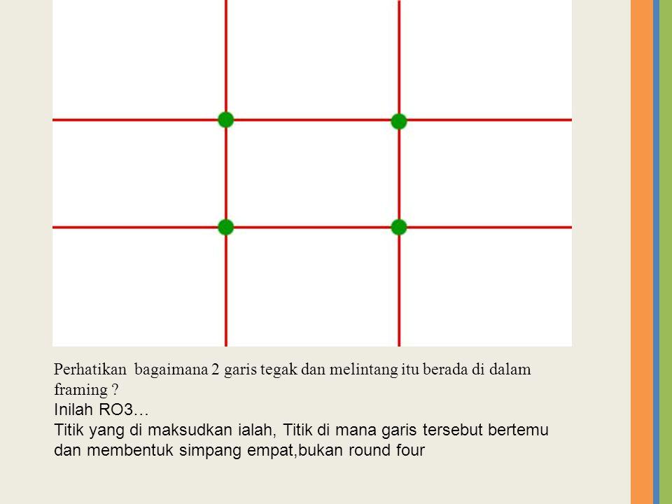 Perhatikan bagaimana 2 garis tegak dan melintang itu berada di dalam framing .