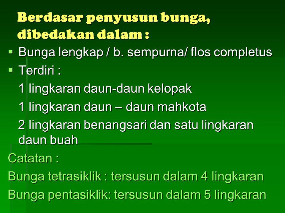Kelamin bunga  Bunga banci/berkelamin dua/hemaproditus disebut juga bunga sempurna/lengkap disebut juga bunga sempurna/lengkap contoh : bunga Terung/Solanum melongena contoh : bunga Terung/Solanum melongena  Bunga berkelamin tunggal/unisexualis, dibedakan : Bunga jantan/flos masculus = 0 Bunga jantan/flos masculus = 0 Pd bunga jantan jagung Pd bunga jantan jagung Bunga betina/flos femineus = 0 Bunga betina/flos femineus = 0 Pd bunga betina jagung Pd bunga betina jagung