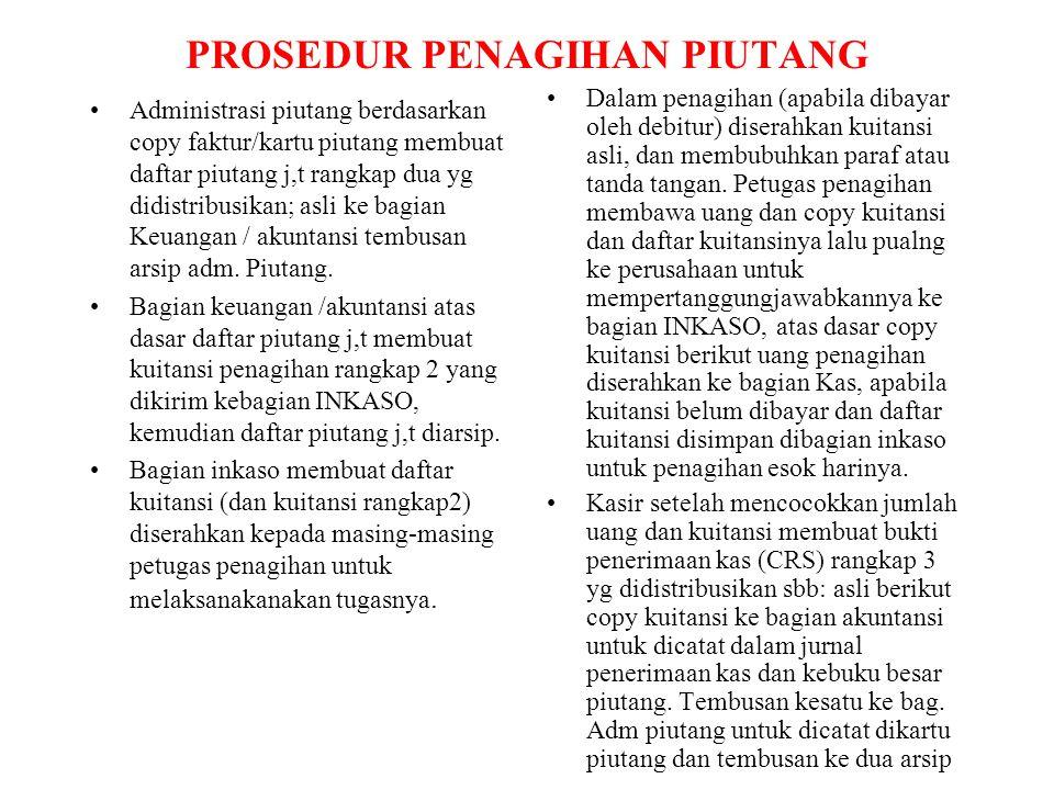 SISTEM PENGENDALIAN INTERN PIUTANG Adanya pemisahan antara petugas yang mencatat timbulnya dan penghapusan piutang dg petugas buku besar dan penagihan