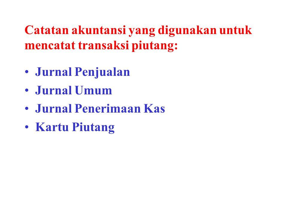 Catatan akuntansi yang digunakan untuk mencatat transaksi piutang: Jurnal Penjualan Jurnal Umum Jurnal Penerimaan Kas Kartu Piutang