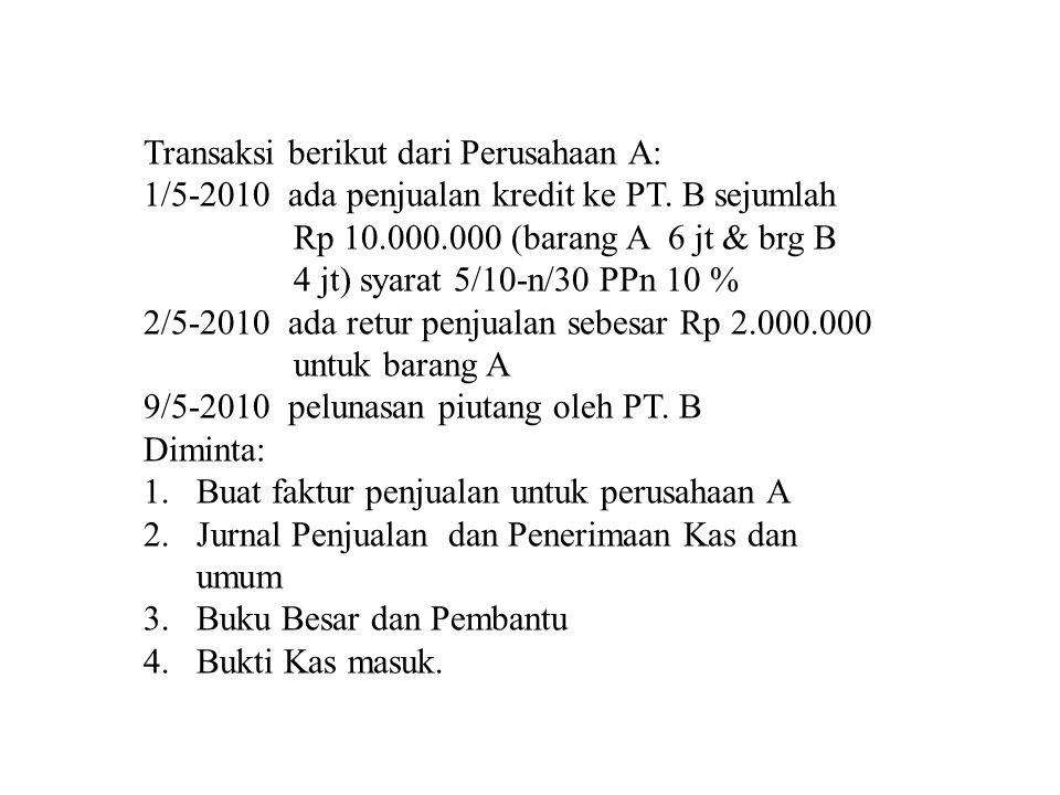Transaksi berikut dari Perusahaan A: 1/5-2010 ada penjualan kredit ke PT.