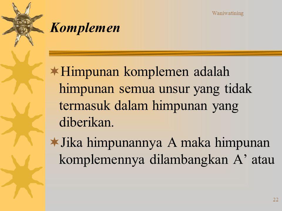 Waniwatining 22 Komplemen  Himpunan komplemen adalah himpunan semua unsur yang tidak termasuk dalam himpunan yang diberikan.  Jika himpunannya A mak