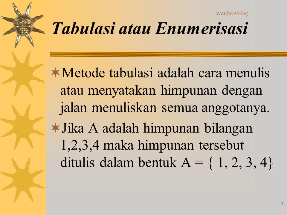 Waniwatining 3 Tabulasi atau Enumerisasi  Metode tabulasi adalah cara menulis atau menyatakan himpunan dengan jalan menuliskan semua anggotanya.  Ji