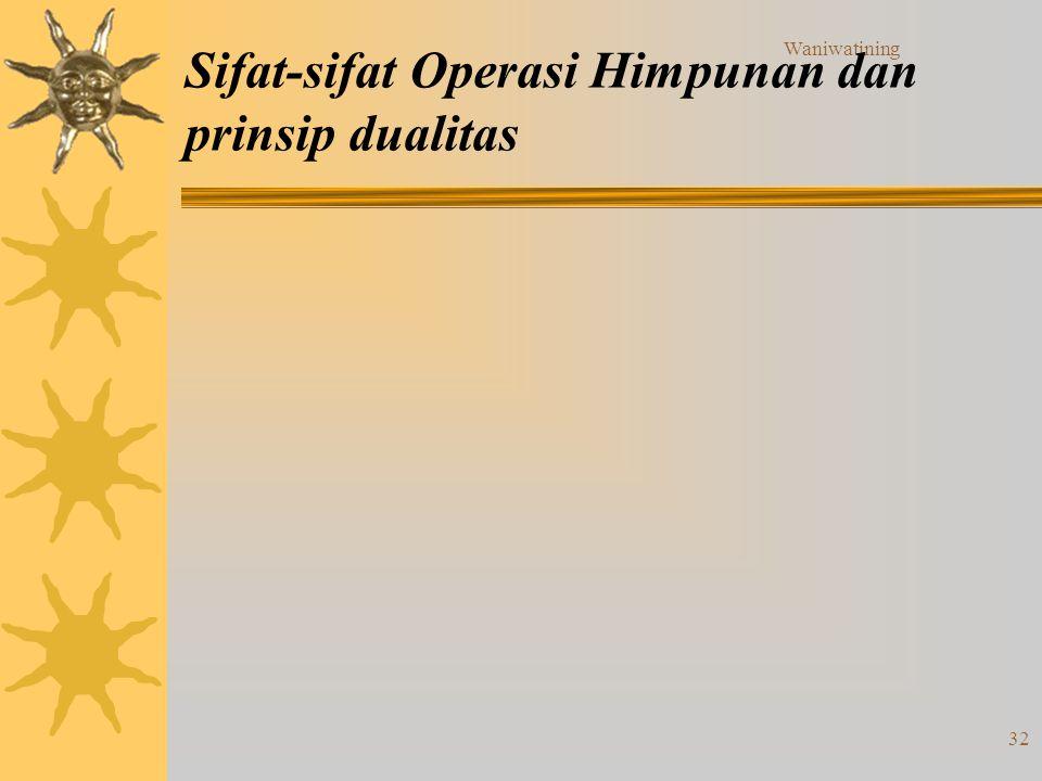 Waniwatining 32 Sifat-sifat Operasi Himpunan dan prinsip dualitas