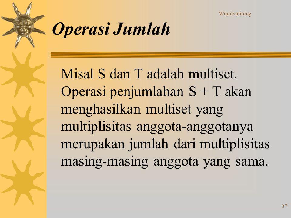 Waniwatining 37 Operasi Jumlah Misal S dan T adalah multiset. Operasi penjumlahan S + T akan menghasilkan multiset yang multiplisitas anggota-anggotan
