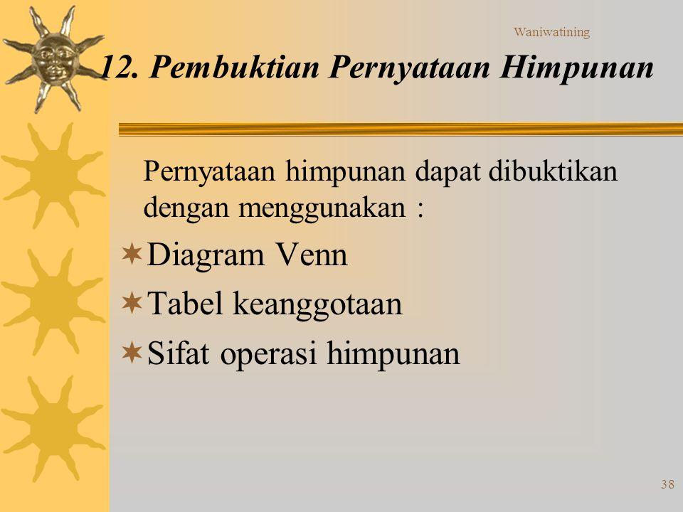 Waniwatining 38 12. Pembuktian Pernyataan Himpunan Pernyataan himpunan dapat dibuktikan dengan menggunakan :  Diagram Venn  Tabel keanggotaan  Sifa
