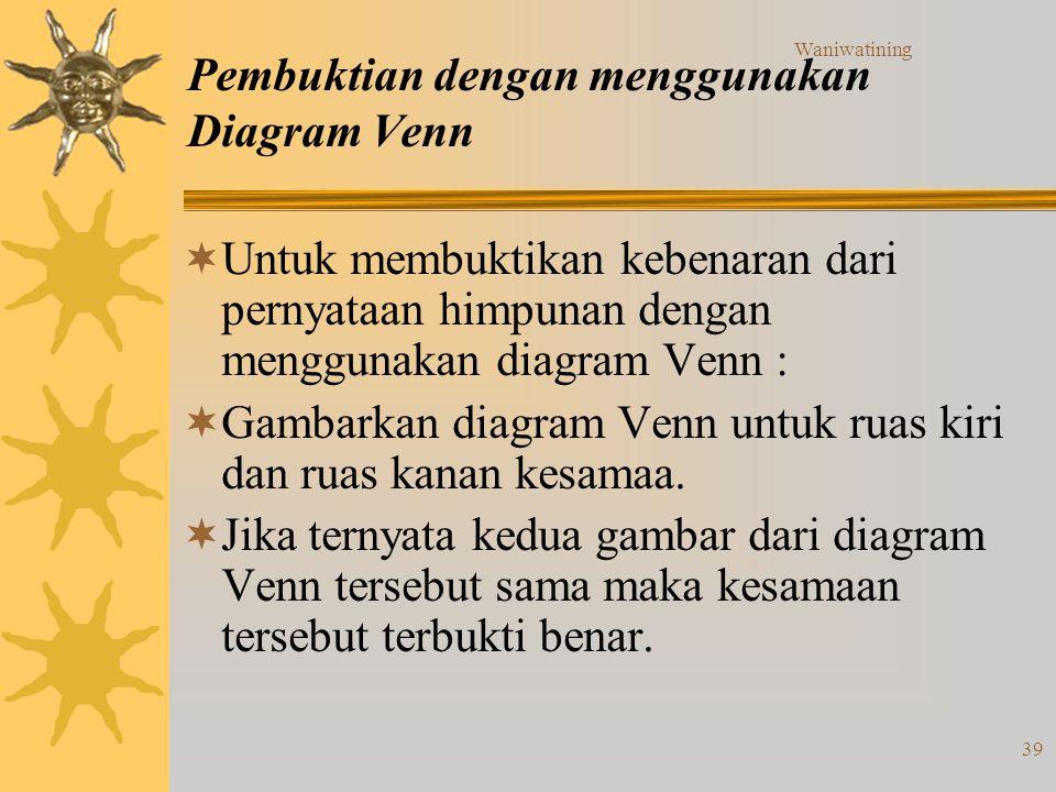 Waniwatining 39 Pembuktian dengan menggunakan Diagram Venn  Untuk membuktikan kebenaran dari pernyataan himpunan dengan menggunakan diagram Venn : 