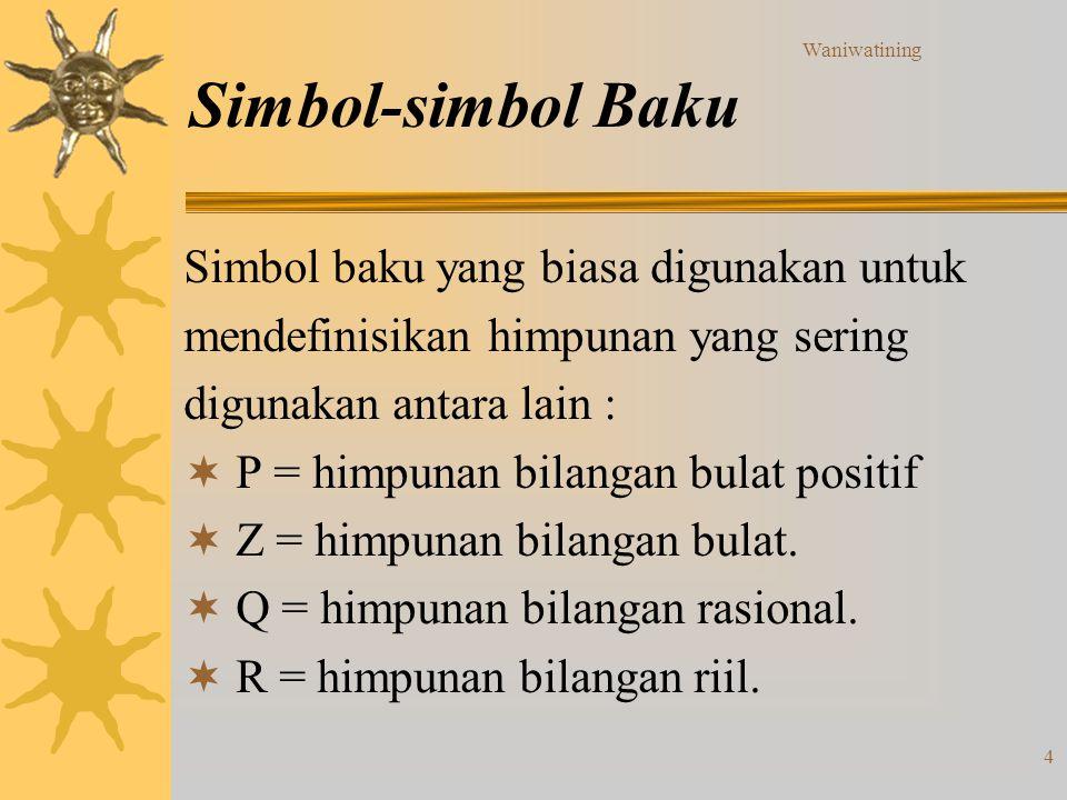 Waniwatining 4 Simbol-simbol Baku Simbol baku yang biasa digunakan untuk mendefinisikan himpunan yang sering digunakan antara lain :  P = himpunan bi